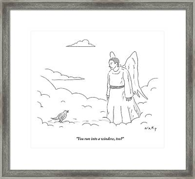 A Bird In Heaven Addresses A Male Angel And Asks Framed Print by Kim Warp