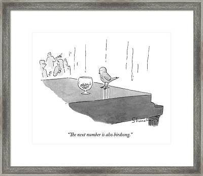 A Bird Piano Player At A Cocktail Lounge Speaks Framed Print