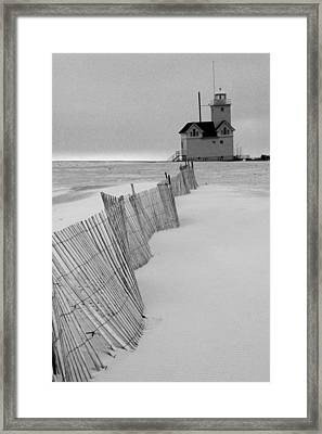 A Black And White Photograph Of The Lighthouse Big Red In Holland Michigan Framed Print
