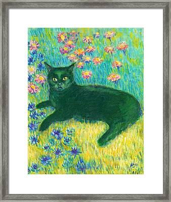 Framed Print featuring the painting A Black Cat On Floral Mat by Jingfen Hwu