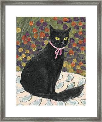 Framed Print featuring the painting A Black Cat On Oyster Mat by Jingfen Hwu