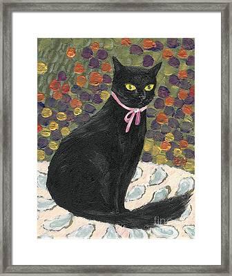 A Black Cat On Oyster Mat Framed Print