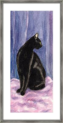 A Black Cat's Sexy Pose Framed Print