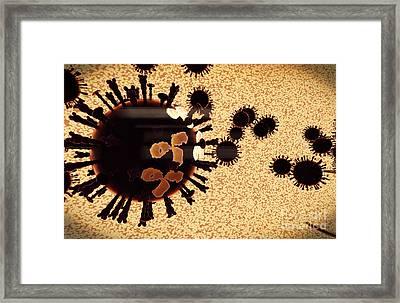 A Black Swarm Of H5n1 Avian Flu Viruses Framed Print by Stocktrek Images