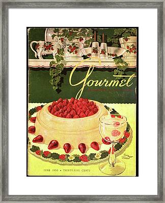 A Blancmange Ring With Strawberries Framed Print by Henry Stahlhut