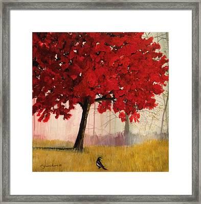 A Blaze Of Crimson Framed Print by Priscilla Greenbaum