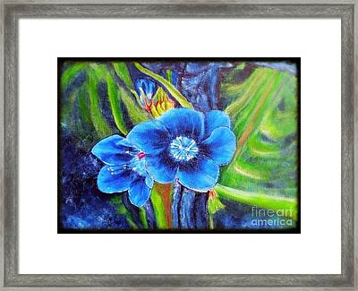 Exotic Blue Flower Prize For Blue Dragonfly Framed Print