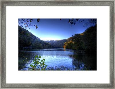 A Blue Lake In The Woods Framed Print