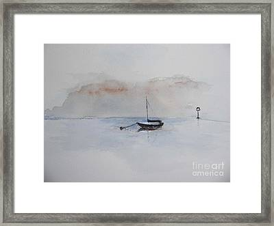 Framed Print featuring the painting A Blue Mooring by Sibby S