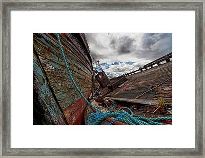 A Blue Rope Tied To An Old Weathered Framed Print by John Short