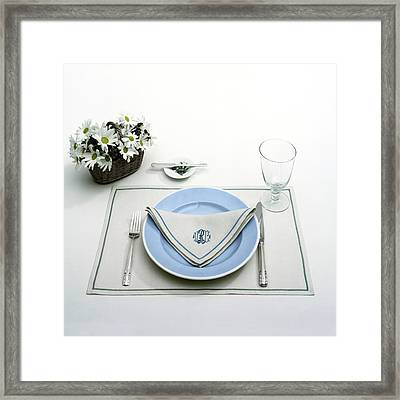 A Blue Table Setting Framed Print by Haanel Cassidy