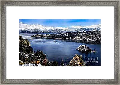 A Bluebird Day At Emerald Bay Framed Print by Mitch Shindelbower