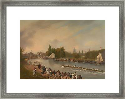 A Boat Race On The River Isis In Oxford Framed Print by Mountain Dreams