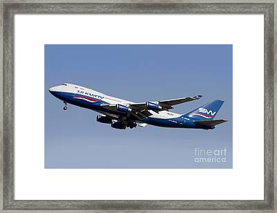 A Boeing 747-400 Of Slik Way Airlines Framed Print by Luca Nicolotti