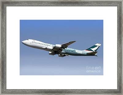 A Boeing 747-800 Cathay Pacific Cargo Framed Print