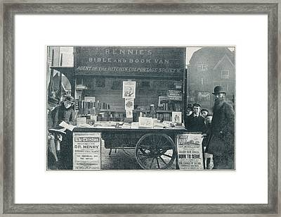 A Bookseller Framed Print by British Library