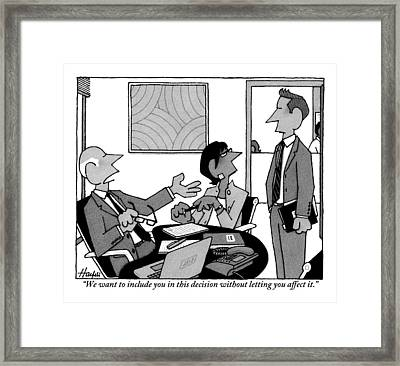 A Boss Addresses One Of His Employees Framed Print