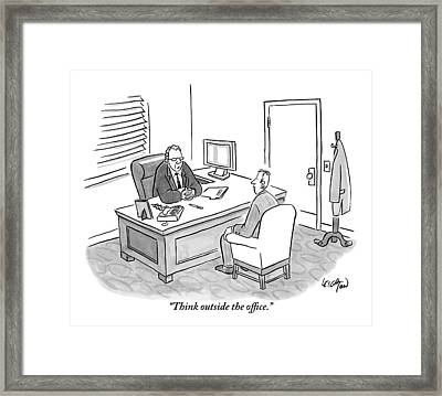 A Boss Asks His Employee Framed Print