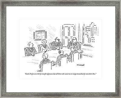 A Boss Holds A Meeting With Other Executives Framed Print