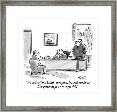 A Boss In His Office Discusses Health Care Framed Print