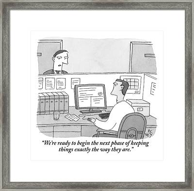 A Boss Speaks To His Employee Who Is Working Framed Print