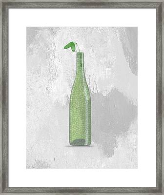 A Bottle With Flower Framed Print