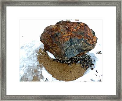 A Boulder With Many Facets Framed Print by Marcia Lee Jones