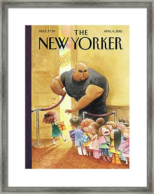 A Bouncer Lets Children Into An Exclusive Framed Print