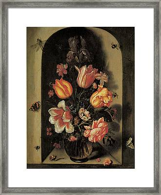 A Bouquet Set In A Deep Niche Framed Print by Johannes Baers