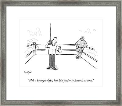 A Boxing Referee Makes His Introductory Framed Print by Robert Leighton