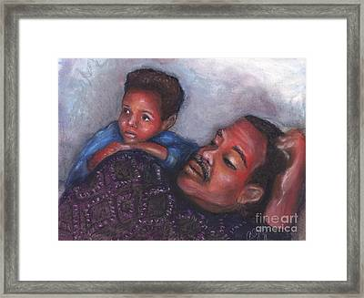 Framed Print featuring the mixed media A Boy And His Dad by Alga Washington