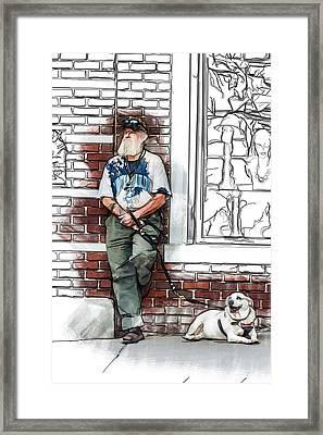 A Boy And His Dog Framed Print by John Haldane