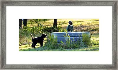 A Boy And His Dog Framed Print by Matt Plyler
