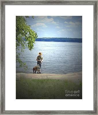 A Boy And His Dog Framed Print by Sandra Clark