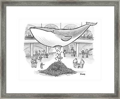 A Boy Hits The Giant Whale In The Museum Framed Print