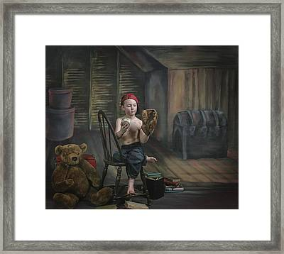 A Boy In The Attic With Old Relics Framed Print by Pete Stec