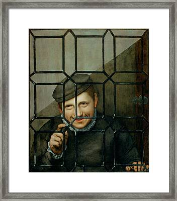 A Boy Looking Through A Casement Window Framed Print
