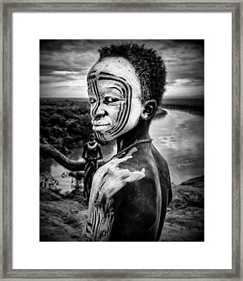 A Boy Of The Karo Tribe. Omo Valley (ethiopia). Framed Print