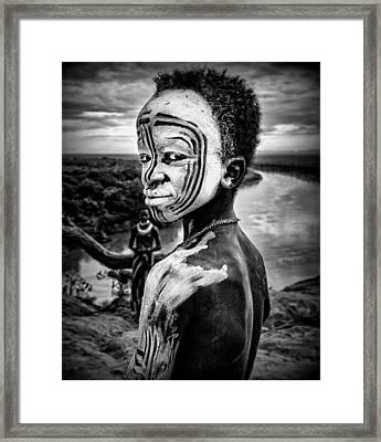 A Boy Of The Karo Tribe. Omo Valley (ethiopia). Framed Print