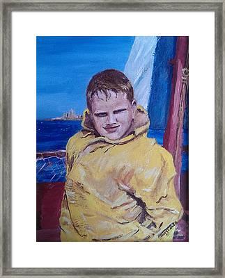 A Boy On A Boat Framed Print by Jack Skinner