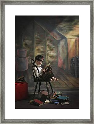 A Boy Posed Reading Old Books Victoria Framed Print by Pete Stec