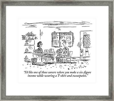A Boy Sits Across From A Woman Behind A Desk Framed Print by Barbara Smaller