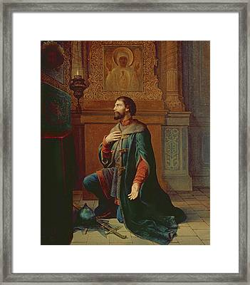 A Boyar Before The Campaign, 1871 Oil On Canvas Framed Print