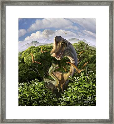 A Brachiosaurus With Young Framed Print
