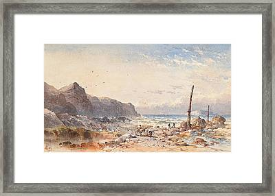 A Breezy Day With Fisherfolk On The Foreshore Framed Print by William Cook of Plymouth