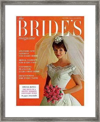 A Bridal In Wedding Dress Smiling At Camera Framed Print
