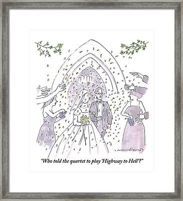 A Bride And Groom Are Seen Talking As People Framed Print