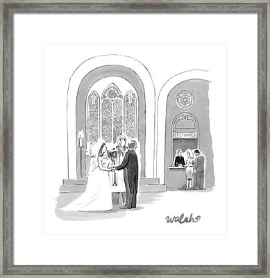 A Bride And Groom Getting Married Framed Print