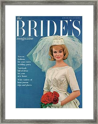 A Bride Smiling In A Wedding Gown Framed Print