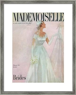 A Bride Wearing A Mindelle Dress Framed Print by Somoroff